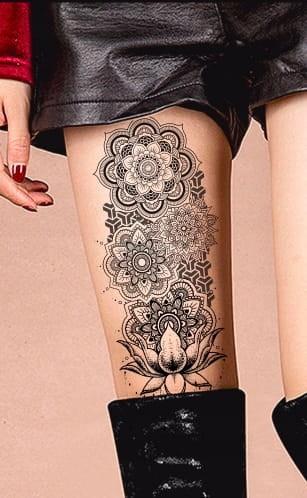 Tatuaż Tymczasowy Zmywalny Mandala Motyl Pióro Diy