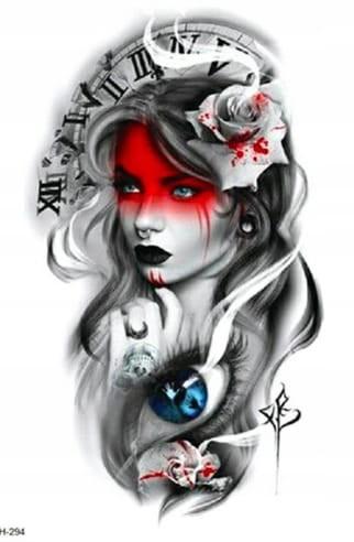 Tatuaż Tymczasowy Zmywalny Kobieta Róża Zegar Oko