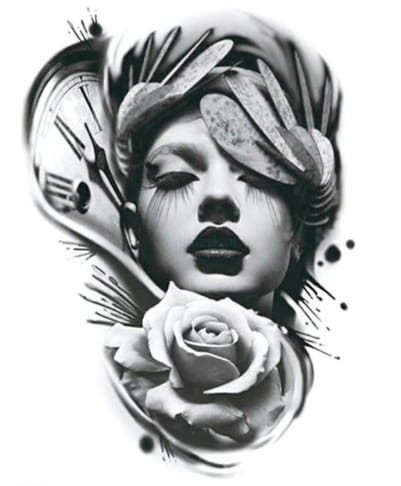 Tatuaż Tymczasowy Zmywalny Kobieta Róża Zegar Diy