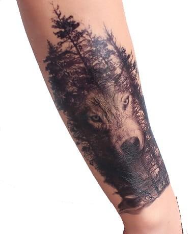 Tatuaż Tymczasowy Ręka Noga Las Wilk Przed Ramię