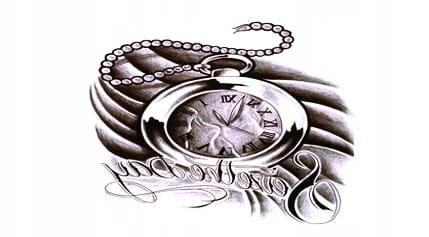 Tatuaż Zmywalny Rękaw Ramię 15x21 Kompas Zegar