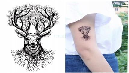Tatuaż Tymczasowy Jeleń Drzewo Poroże Nadgarstek