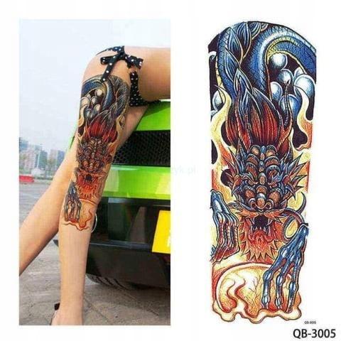 Tatuaż Zmywalny Rękaw Ręka Smok Pazur Ogień Noga