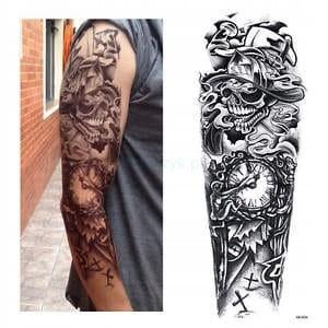 Tatuaż Tymczasowy Rękaw Ręka Strażak 112 Zegar