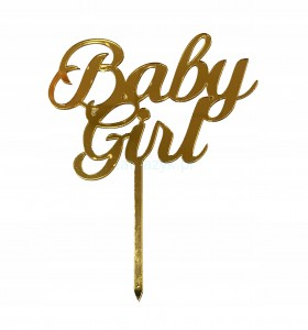 TOPPER na tort Baby shower GIRL GOLD Cupcake PIK