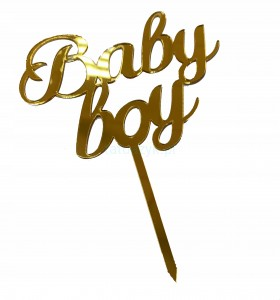 TOPPER na tort Baby shower BOY GOLD Cupcake PIK