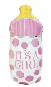 BALON foliowy BUTELKA It's a GIRL baby shower 82cm
