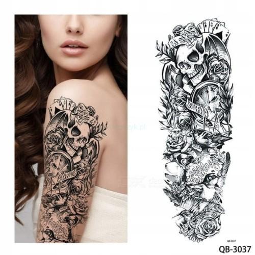 Tatuaż Tymczasowy Zmywalny Rękaw Ręka Karty As Pik
