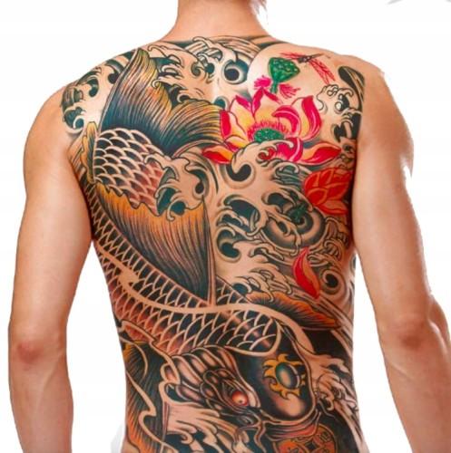 Tatuaż Zmywalny Plecy Duży Back Kwiat Ryba Koi Big
