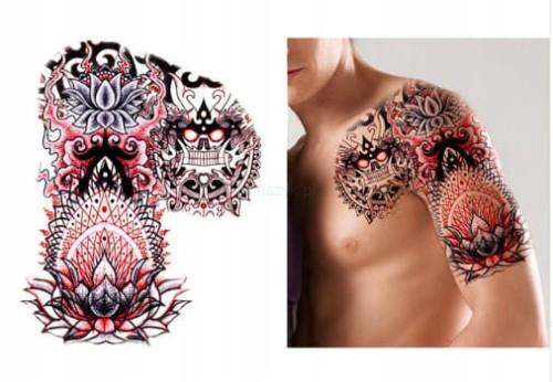 Tatuaż Zmywalny Wielki Klatka Kwiat Lotos Smok 32c