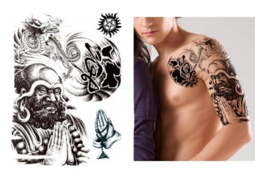 Tatuaż Zmywalny Wielki Klatka Budda Modlitwa 32cm
