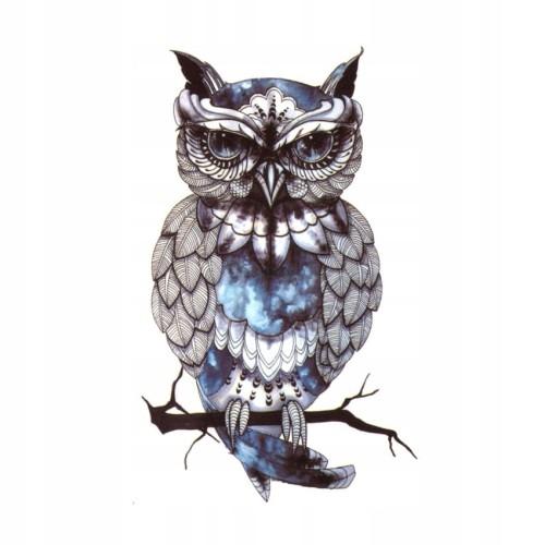 Tatuaż Zmywalny Sowa Kolor Niebieska Owl Wild Anim
