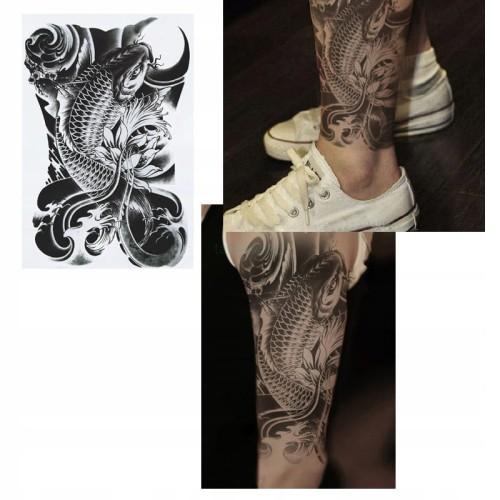 Tatuaż Rękaw Noga 3d Wodoodpo Ryba Koi Black Klasa