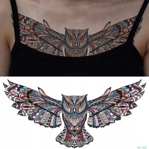 Tatuaż Zmywalny 24x14 Klatka Brzuch Piersi Sowa Xl
