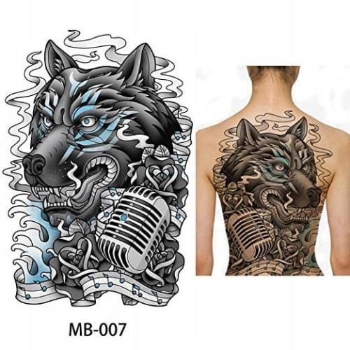 Tatuaż Zmywalny Plecy Duży Wilk Mikrofon Xxl 48cm