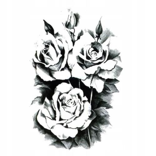 Tatuaż Tymczasowy Zmywalny Róża Rose Kwiat Gałązka