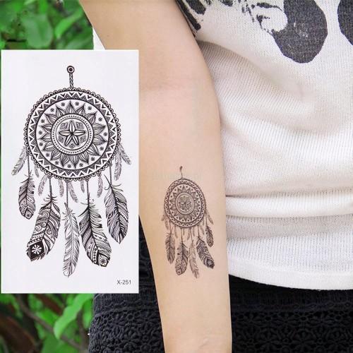 Tatuaż Zmywalny łapacz Snów Dream Catcher Pióro