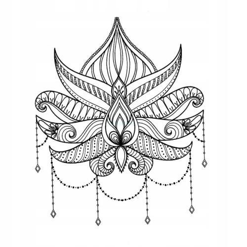 Tatuaż Tymczasowy Zmywalny Kwiat Lotosu Lotus Diy