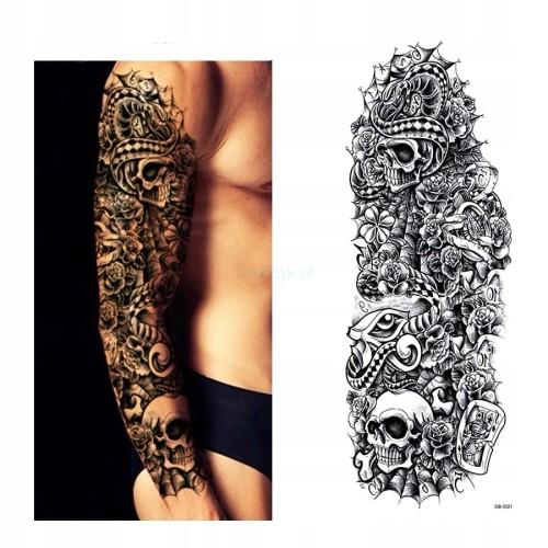 Tatuaż Tymczasowy Zmywalny Rękaw Karta As Czaszka