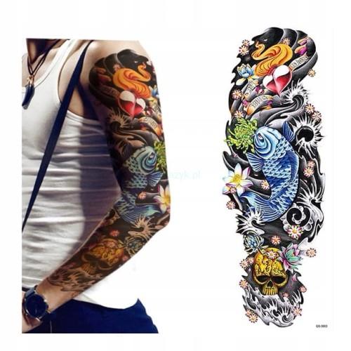 Tatuaż Zmywalny Rękaw Ręka Ryba Koi Serce Kolor
