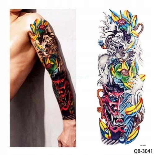 Tatuaż Tymczasowy Zmywalny Rękaw 45cm Maski Kolor