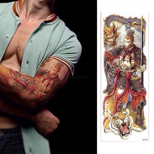 Tatuaż Tymczasowy Rękaw 45cm Małpa Wojownik Tygrys